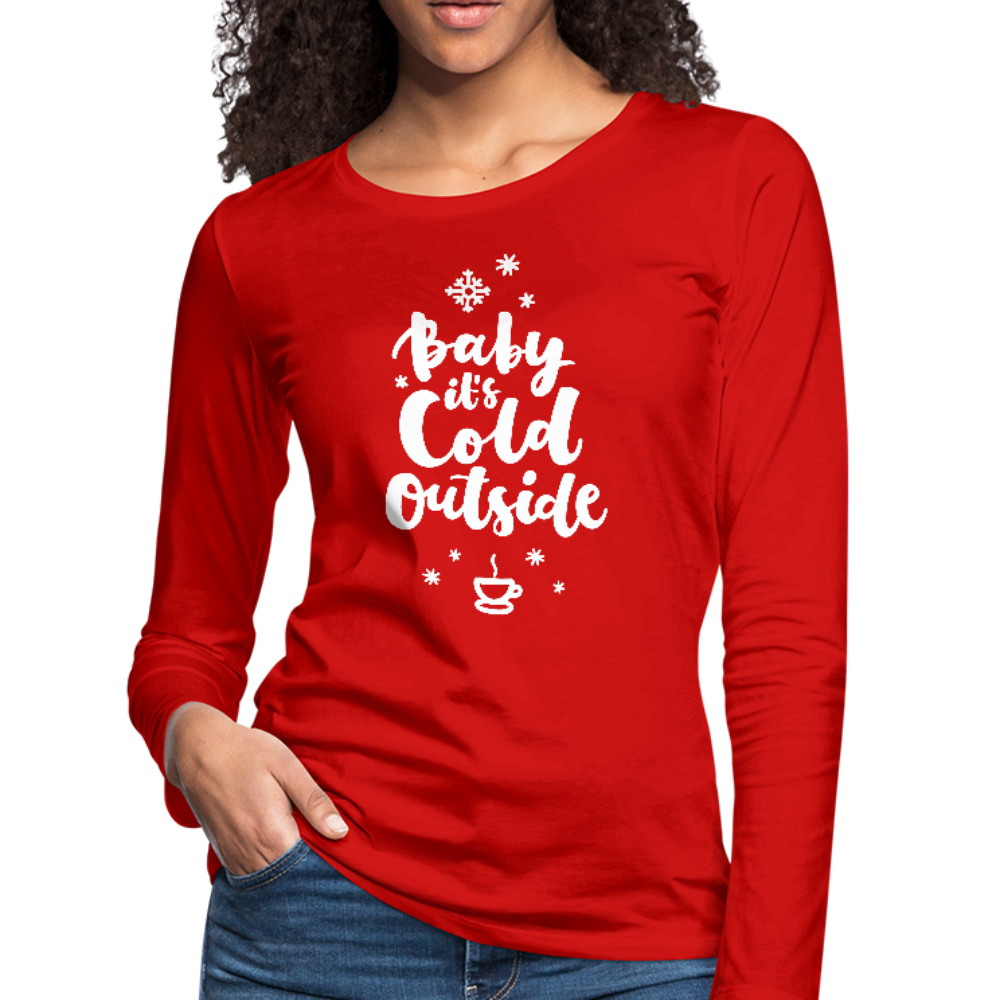Baby It's Cold Outside Premium Long Sleeve Tee - Red - B Inspired Boutique