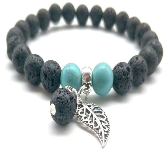 Black +Turquoise Feather Charm Lava Stone Essential Oil Bracelet - B Inspired Boutique