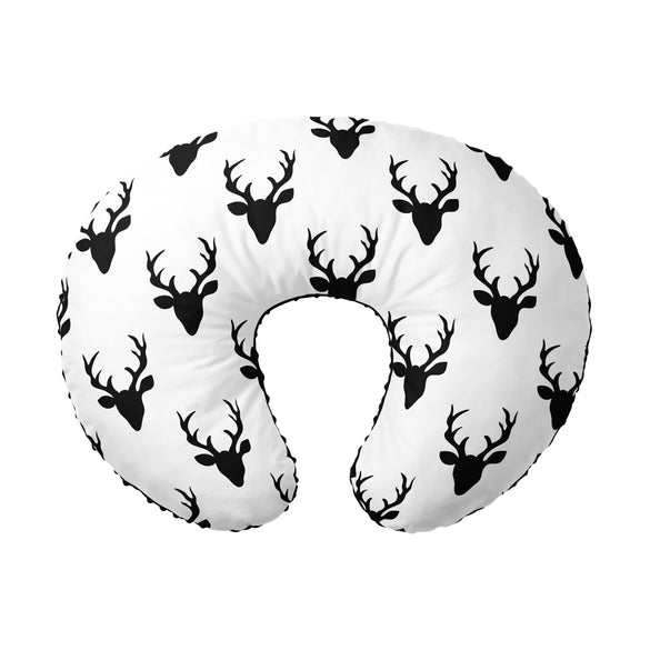 Nursing Pillow Cover - Black White Buck