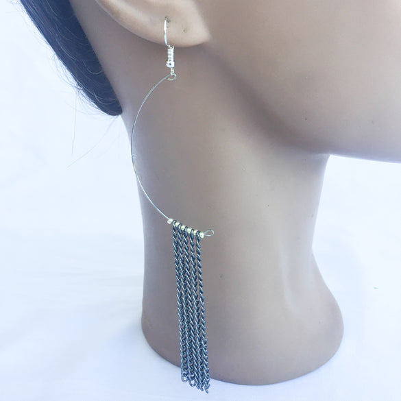 Zina Fringe Half-hoop Earrings