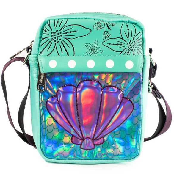Little Mermaid Iridescent Shell Crossbody Vegan Leather Bag