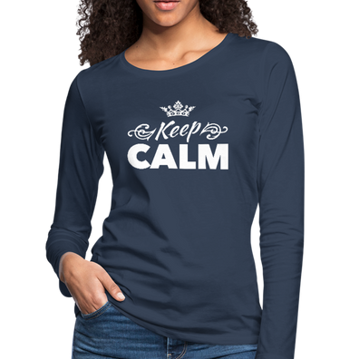 Keep Calm Premium Long Sleeve Tee - navy