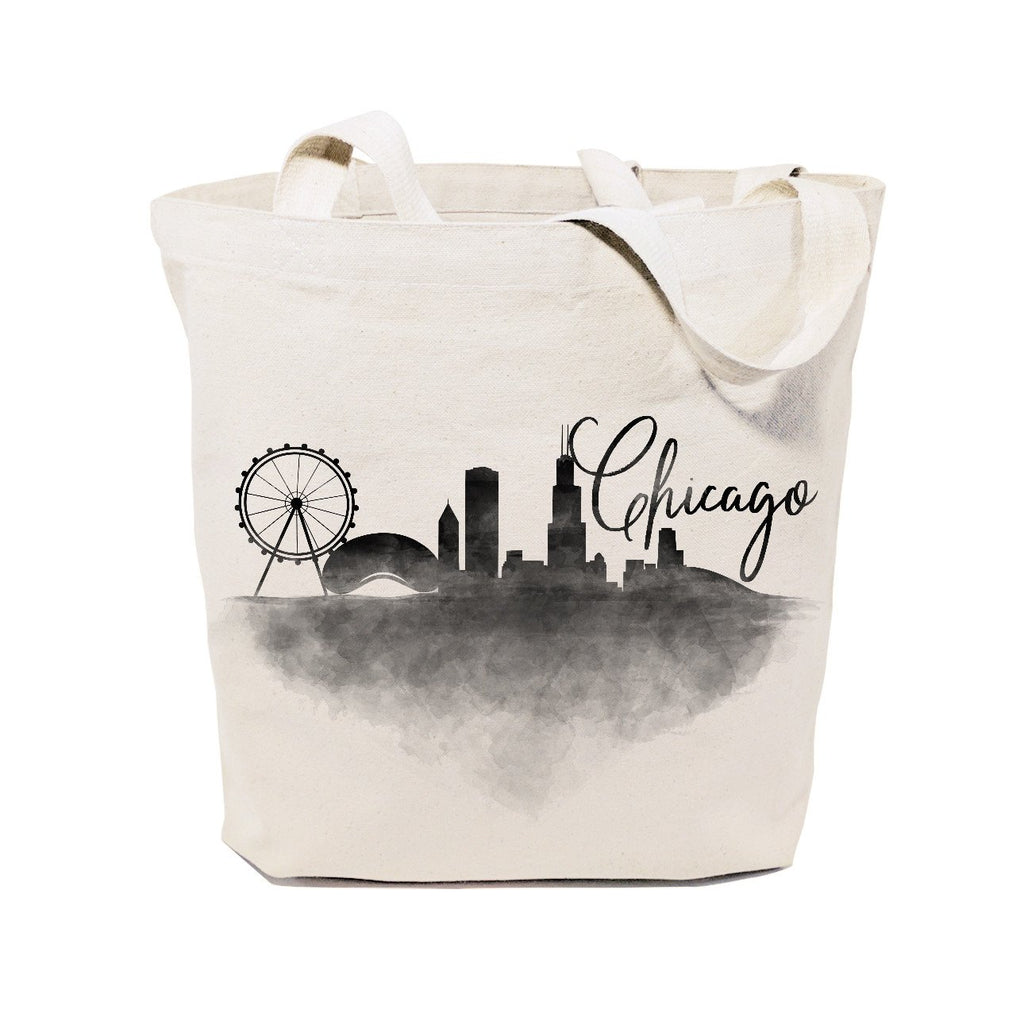Chicago Cityscape Cotton Canvas Tote Bag