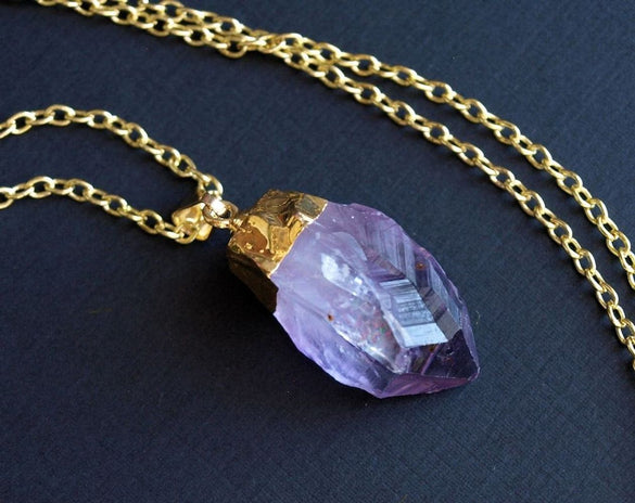 Long Gold Raw Amethyst Crystal Statement Necklace