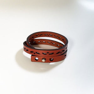 Leather Double Wrap Bracelet - leaf motif
