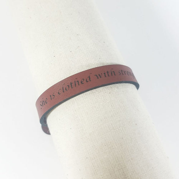 Spiritual Quote Bracelets - She is clothed with strength and dignity - Proverbs 31:5