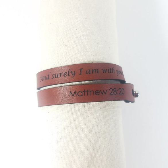 Spiritual Wrap Bracelets - And surely I am with you always - Matt 28:20