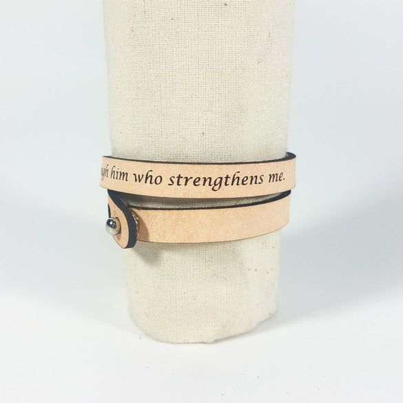 Spiritual Quote Wrap Bracelets - I can do all things through him who strengthens me - Phil 4:13