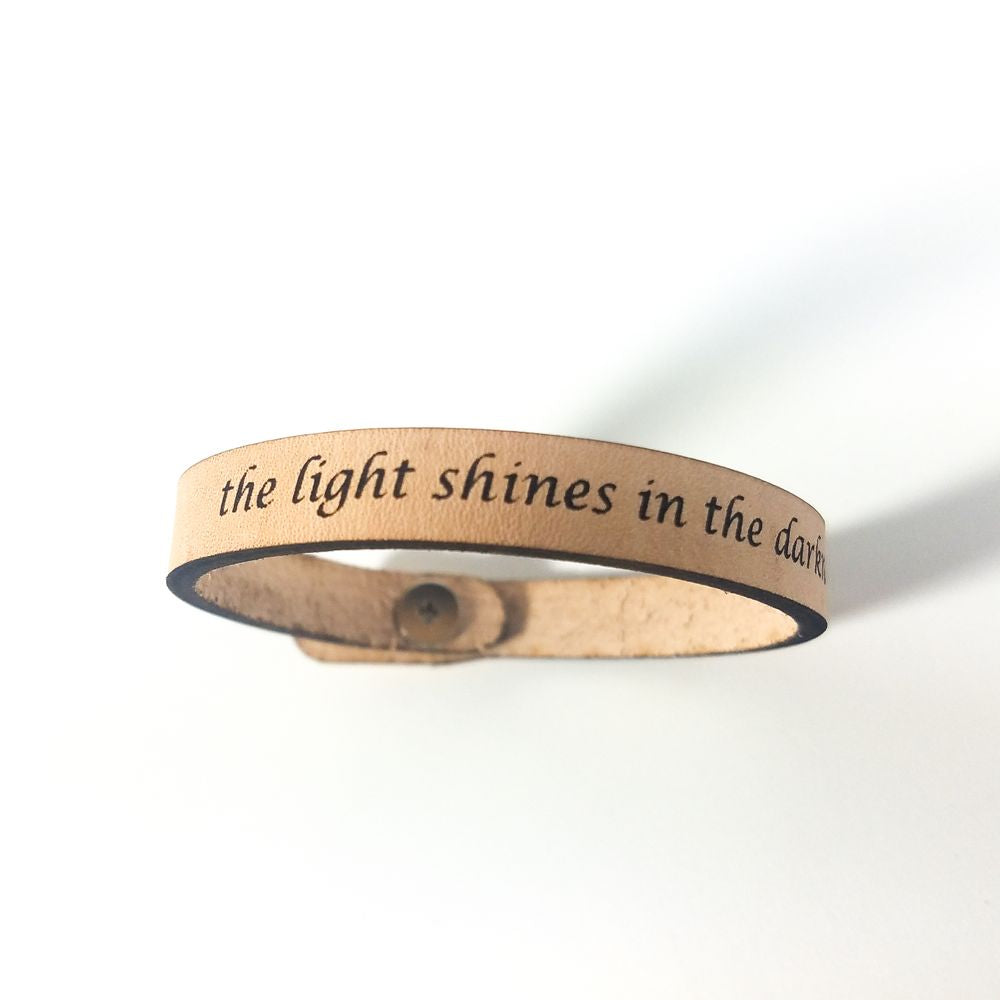 Spiritual Quote Bracelet - the light shines in the darkness - John 1:5