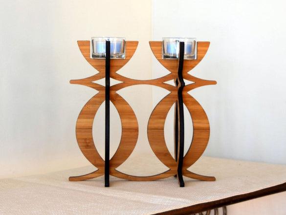 Solstice Candelabra Tea Light Holder in Eco-friendly Bamboo