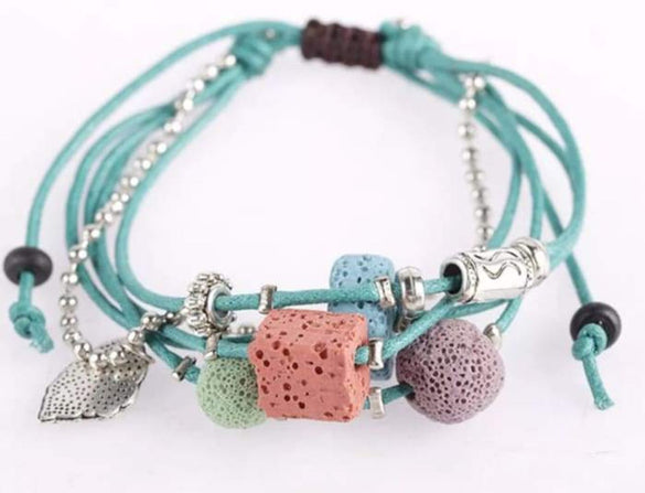 Lava Stone Essential Oil Bracelet - Teal Lava Charms