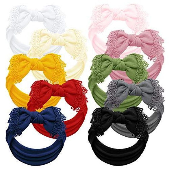 Baby Girl Headbands and bows - Set of 10