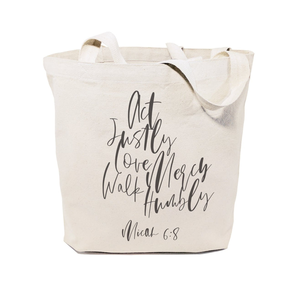 Act Justly Love Mercy Walk Humbly, Micah 6:8 Cotton Canvas Tote Bag - B Inspired Boutique