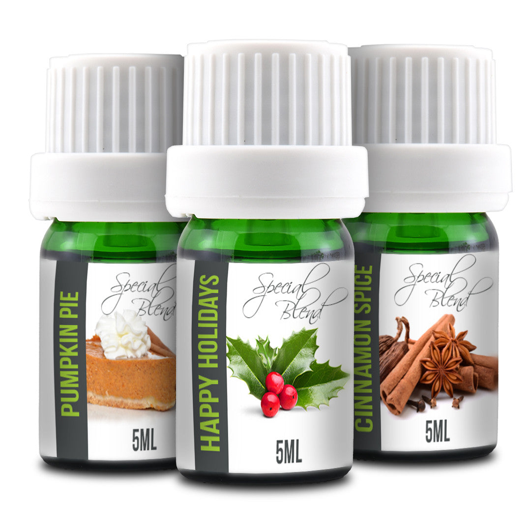 Holiday Essential Oils Set -  5ML Happy Holidays, Pumpkin Pie, Cinnamon Spice