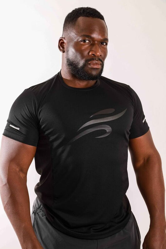 Men's Cross Fit Shirt with Reflective Logo - Black - B Inspired Boutique