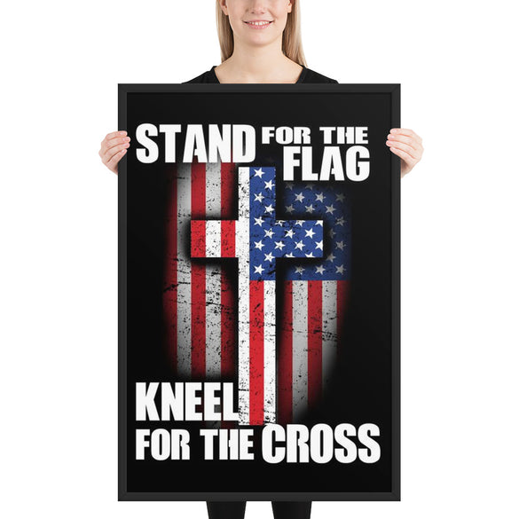 Stand for the Flag, Kneel for the Cross Framed Wall Decor - B Inspired Boutique