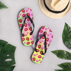Strawberries Hearts & Lips Flip-Flops - B Inspired Boutique