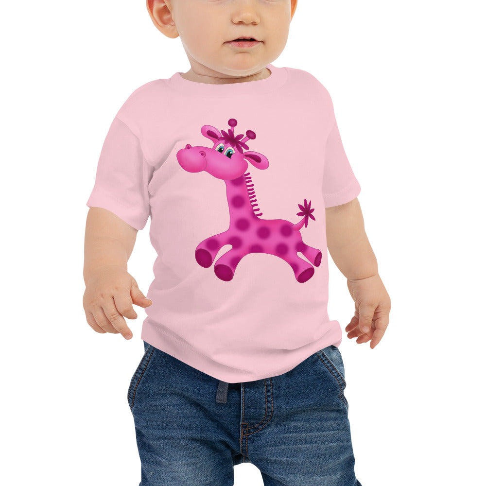 Pink Giraffe Baby Jersey Short Sleeve Tee - B Inspired Boutique