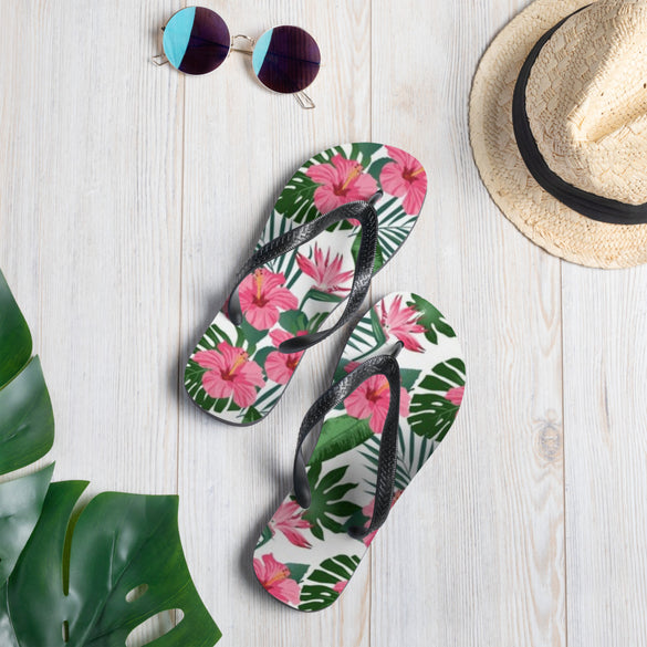 Hibiscus Flower Flip-Flops - B Inspired Boutique