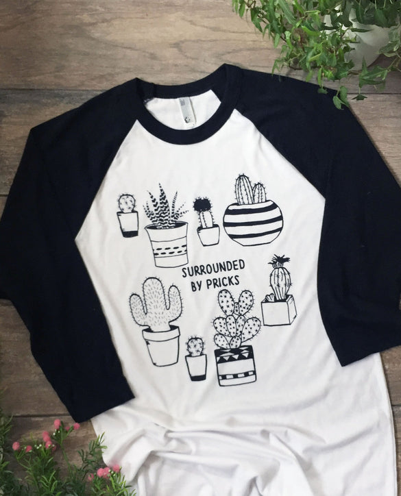 Surrounded by Pricks Adult Unisex Raglan Baseball Tee
