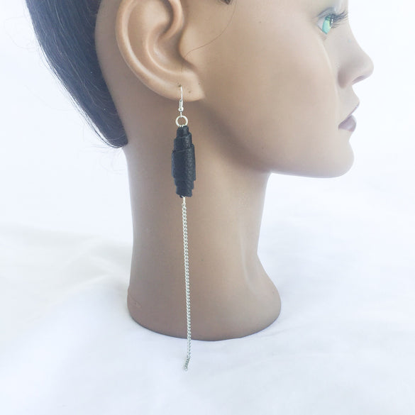 Menzi Leather & Chain Earrings