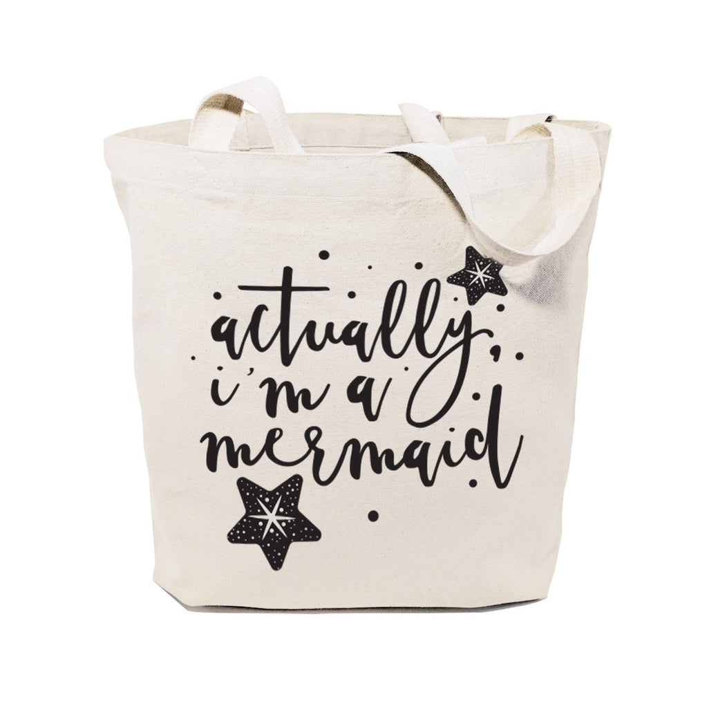 Actually, I'm a Mermaid Cotton Canvas Tote Bag - B Inspired Boutique