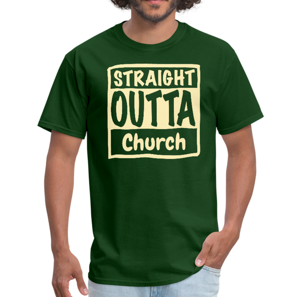 Straight Outta Church Men's T-Shirt - forest green