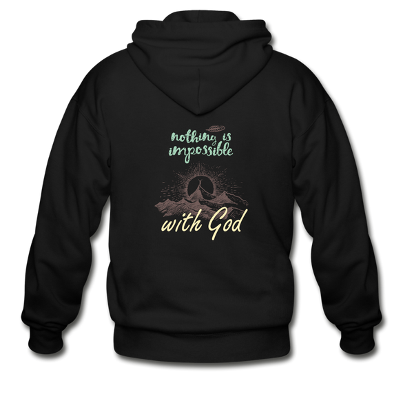 Nothing is Impossible with God Heavy Blend Adult Zip Hoodie - black