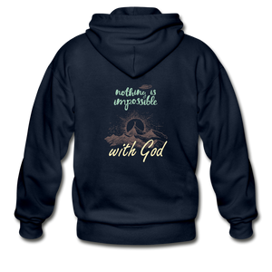 Nothing is Impossible with God Heavy Blend Adult Zip Hoodie - navy