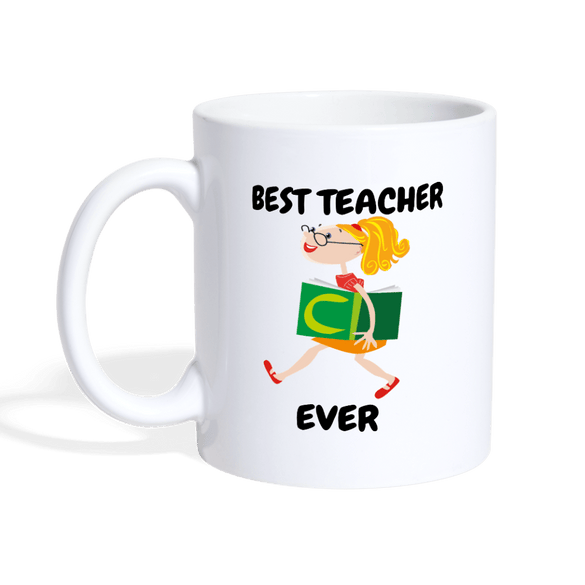 Best Teacher Ever Coffee Mug - white