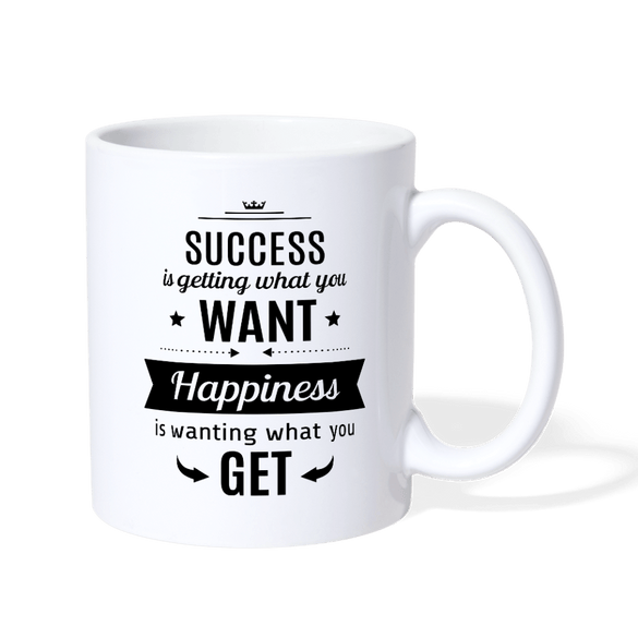 Success is getting what you Want Coffee Mug - white
