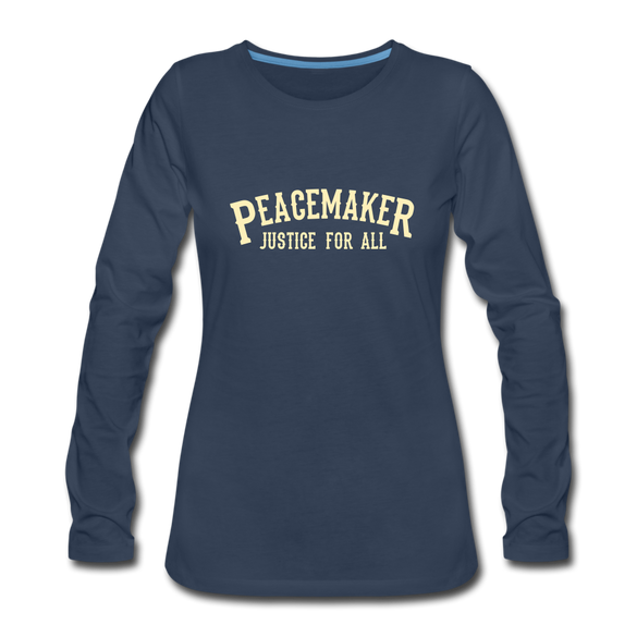Peace Maker Women's Premium Long Sleeve T-Shirt - navy