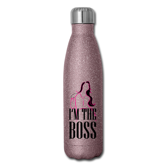 I'm the BOSS Glitter Stainless Steel Water Bottle - pink glitter
