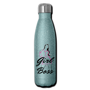 Girl Boss Glitter Stainless Steel Water Bottle - turquoise glitter