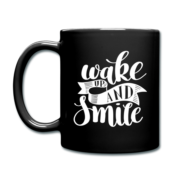 Wake UP and Smile Color Mug - black