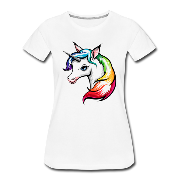 Colorful Unicorn Women's Premium T-Shirt - white
