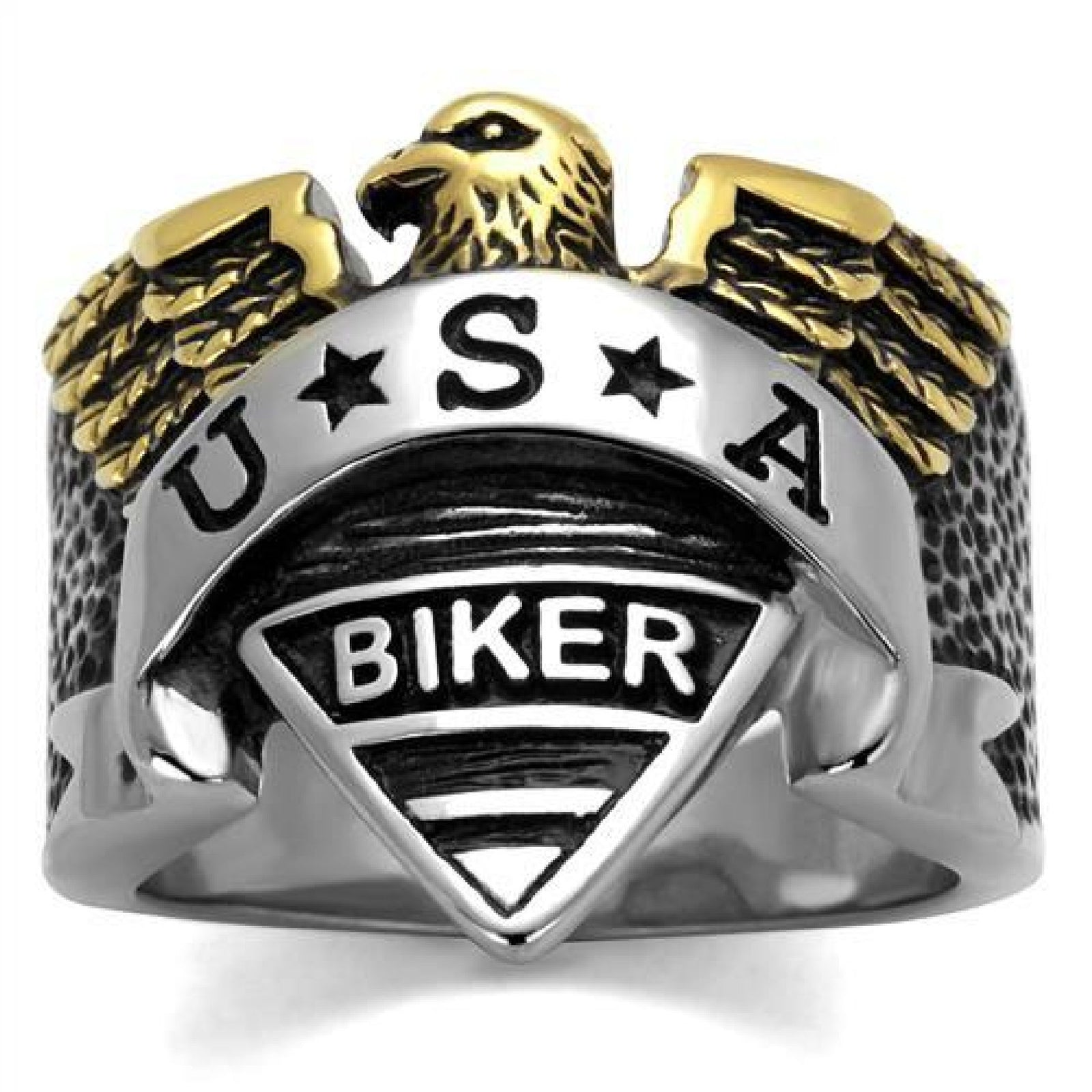 Stainless Steel Two-Tone Men's USA Biker Ring
