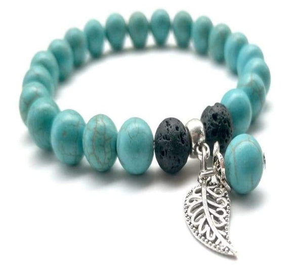 Turquoise Lava Stone Feather Charm Essential Oil Bracelet - B Inspired Boutique