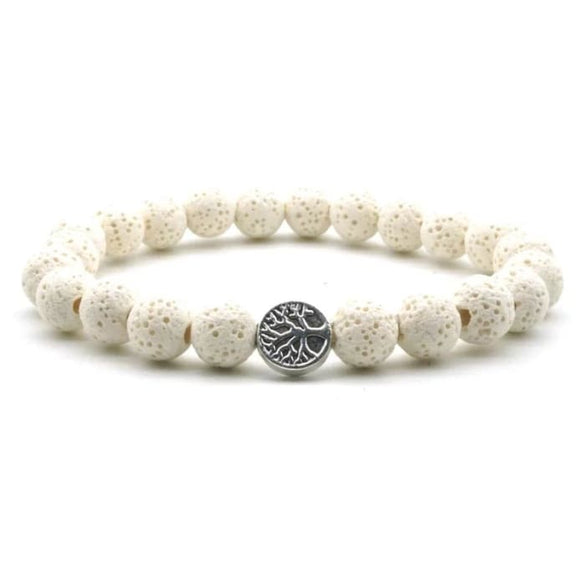 White Lava Stone Tree of Life Essential Oil Bracelet - B Inspired Boutique