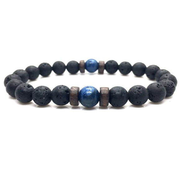 Wood and Lava Stone Essential Oil Bracelet - Blue 2 - B Inspired Boutique