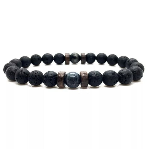 Wood and Lava Stone Essential Oil Bracelet - Gray 2 - B Inspired Boutique