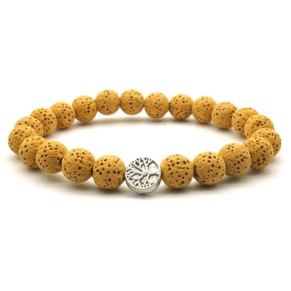 Yellow Tree of Life Lava Stone Essential Oil Bracelet  - B Inspired Boutique