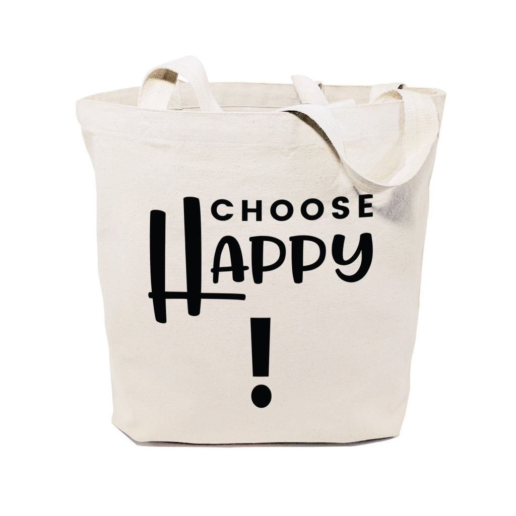 Choose Happy Cotton Canvas Tote Bag