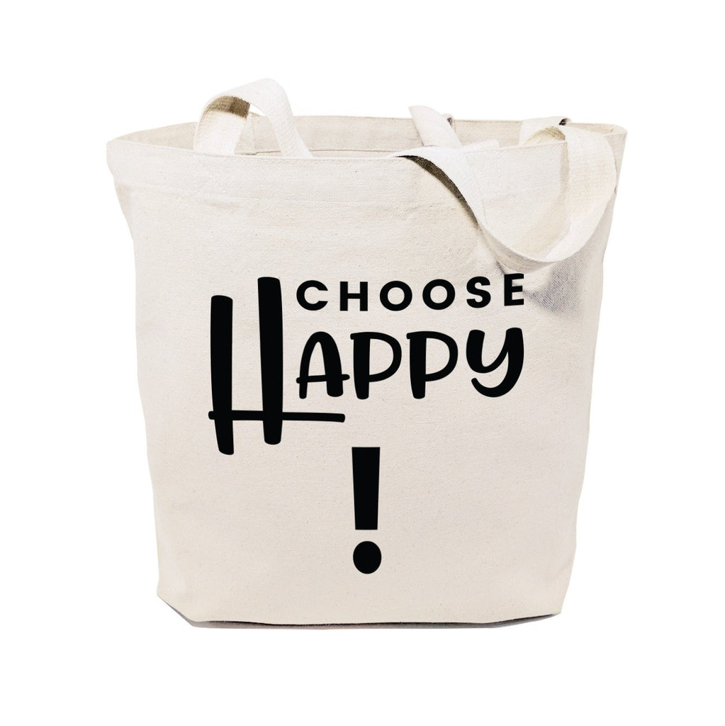 Choose Happy Cotton Canvas Tote Bag - B Inspired Boutique