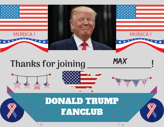 Donald Trump Fanclub Postcard