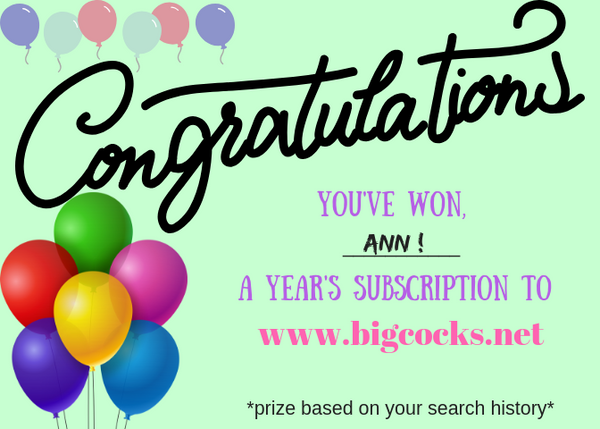 You've Won Big Cocks Subscription Postcard
