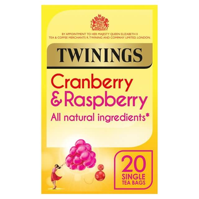 Twinings Tea - Cranberry and Raspberry (Pack of 20 Tea Bags) 40g