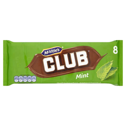 Jacobs (McVities) Club Bars - Mint (Pack of 8 Bars) 176g