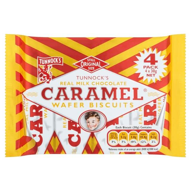 Tunnocks Caramel Wafers - Milk Chocolate (Pack of 4 Wafers) 120g