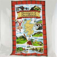 British Brands Tea Towel - Tartan Scenes of Scotland 70g